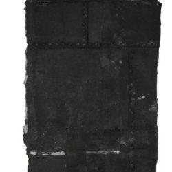 林延,內在的雨 #1,2006,墨、宣紙,250 × 99 × 8 cm