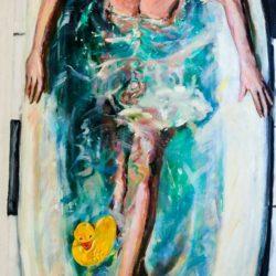 顧福生,浴,1994,油彩 / 畫布,147 x 76 cm
