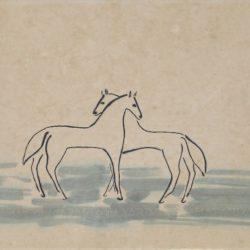 常玉,雙馬,1920/30s,水墨、水彩、吸墨紙/裱於帆布,32 x 50 cm