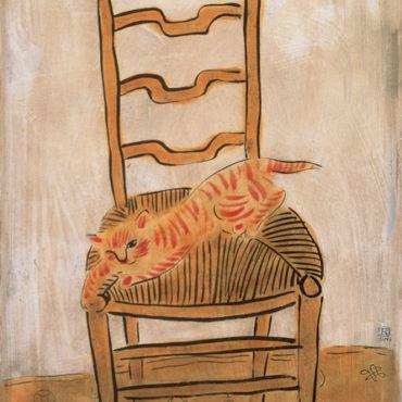 常玉,椅子上的貓,1930s,油彩、纖維板,48 x 31 cm