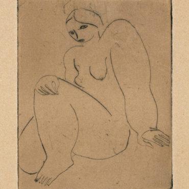 常玉,曲膝裸女,ca. 1929,直刻、鋅版、紙本,9.2 x 7.3 cm