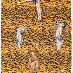 顧福生,童年,2010,綜合媒材 / 印花布,98 x 64 cm