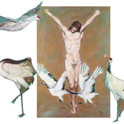 顧福生,博愛,2012,油彩 / 畫布、3件畫布拼貼,246 × 302 cm (canvas), set of 4