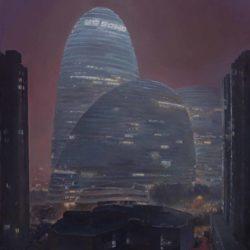 陸亮,霧霾夜的望京 Soho,2016,油彩/畫布,55 x 48 cm